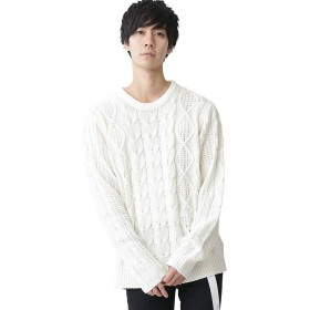 (モノマート) MONO-MART オーバーサイズ アラン編み クルーネック ケーブル ニット セーター メンズ オフホワイト Sサイズ