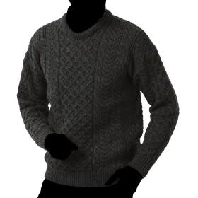 フィッシャーマンズクルーネックセーター/carraigdonnキャレイグドン (L, グレー)