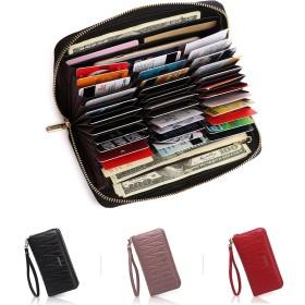 APHISON カードケース レディース 本革 じゃばら式 36枚 RFID クレジットカードケース おしゃれ カード入れ スキミング防止 磁気防止 大容量 ギフト (36枚ブラック)