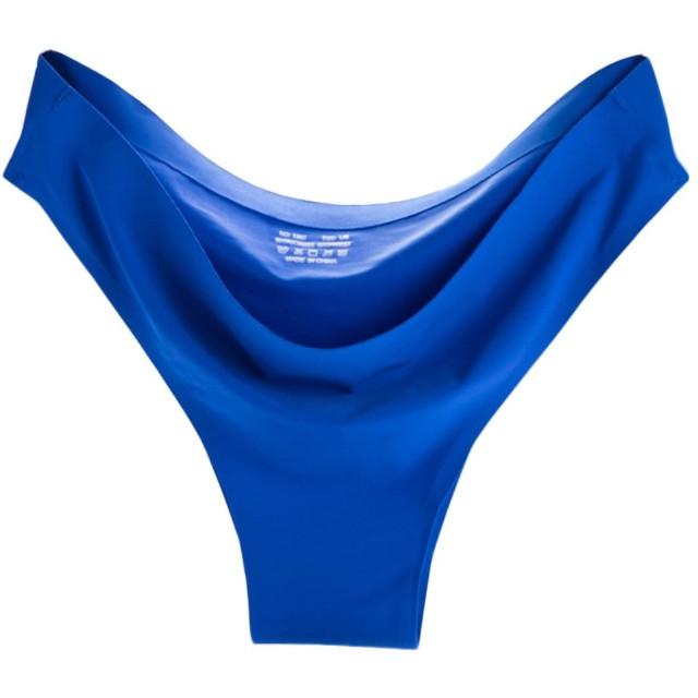 Plus Nao(プラスナオ) ブラジリアンショーツ パンツ シームレスショーツ パンティ スタンダードショーツ シンプル 無地 響きにくい フルバ L ブルー