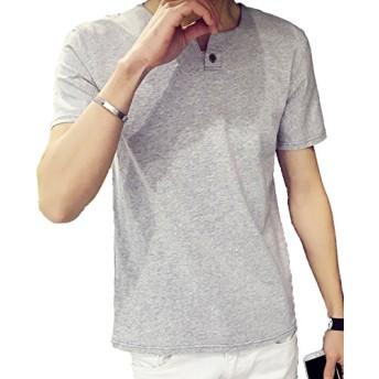 FansX Tシャツ メンズ 無地 半袖 クルーネック ゆったり シルエット 灰 M