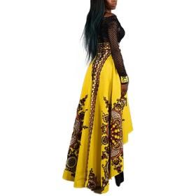 レディース スカート アフリカ レトロ ファッション 花柄 プリント イエロー L 1PC