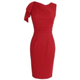 (ウォ2U) Woo2u レディース エレガント ファルバラ ノースリーブ ひざ丈 着痩せ カジュアル お呼ばれ 通勤 二次会 フォーマル ドレス 結婚式 パーティー ワンピース 赤色 M