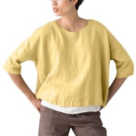 Kukiwaレディースチュニック 半袖 リネントップ Tシャツ ブラウス おしゃれ 無地 トップス 夏 カジュアル 普段着 通勤 UV対策 紫外線対策 体型カバー ゆったり 大きいサイズ