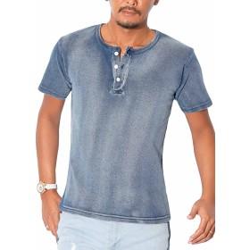 インディゴ染めヘンリーネック半袖Tシャツ