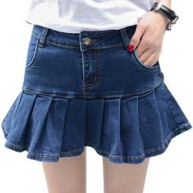 [RSWHYY] レディース デニム ショート スカート キュロット プリーツスカート フリル ミニスカート 可愛い ガールズ ブルー 33#