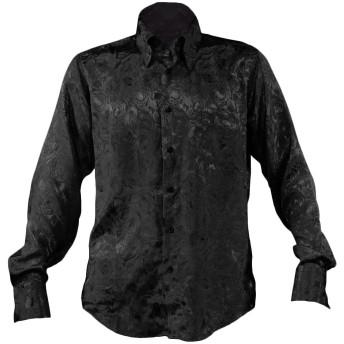 サテンシャツ ドレスシャツ 無地 レギュラーカラー 花柄 薔薇 バラ柄 ジャガード 日本製 長袖 メンズ ブラック黒 161222 L