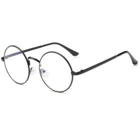 FREESE 丸型 伊達メガネ 超軽量 丸メガネ ファッション伊達眼鏡 ラウンド型 ブルーライトカット UVカット クロス&ケース(ブラック)