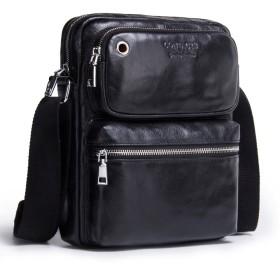 [コンタクトズ] Contacts メンズ ショルダーバッグ 本革 バッグ ファッション斜めがけショルダーバッグ iPadの収納可能 Pad 対応 (ブラック)