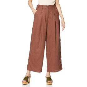 [ウィゴー] WEGO リネン 麻 ブレンド ワイド パンツ FREE フリーサイズ ブラウン レディース