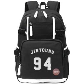 Fanstown KPOP 韓流 GOT7 ヒップホップスタイルたリュックサック バックパック、丸いバッジを付け加えますと (Jinyoung-ジニョン)
