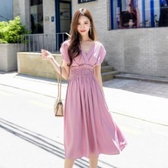 ワンピース ミモレ丈 サマードレス 半袖 Vネック フリル お呼ばれ 女子会 ブルー ピンク 韓国