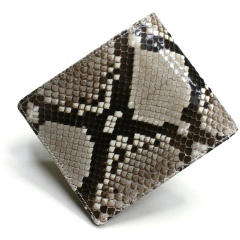 NC1010 蛇革 財布(パイソン 財布)「小銭入れなし」二つ折り財布:ナチュラル