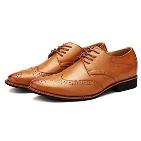 [チェリーレッド] メンズ 革靴 ビジネスシューズ ブロック レザー ラグジュアリー レースアップ 防滑 紳士靴 黄 44