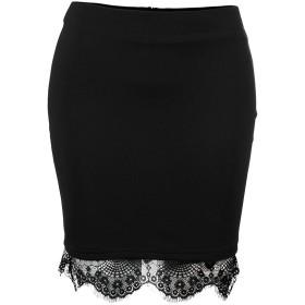 Top Homie女性ハイウエストミニビジネススカート裾レースステッチングスカート通勤 無地 (XL, ブラック)