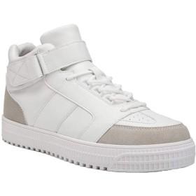 [ジャング] ハイカット スニーカー 靴 メンズ カジュアル レースアップ インヒール 通学靴 大きいサイズホワイト26.0cm