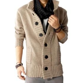 (ベクー)Bekoo メンズ 無地 ニット カーディガン 可愛い オシャレ ドンキー襟 デザイン vネック セーター(ベージュ L)