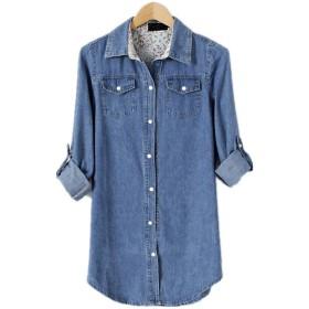 Showlovein レディース 長袖 デニムのシャツ シンプル 襟付き ワンピース トップス コットン デニム シャツ