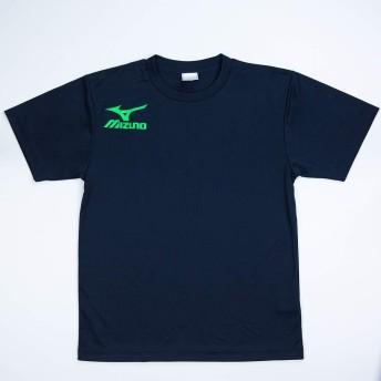 MIZUNO ミズノ Tシャツ スポーツウェア メンズ 半袖シャツ テニス オリジナルTシャツ 限定デザイン 右胸 & 背中ロゴ入り M 本体14ネイビー×グリーン