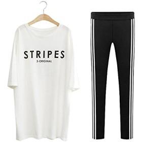 レディース 五分袖 七分袖 Tシャツ+レギンスのセット セットアップ トップス スパッツ スポーツウェア ルームウェア ブラック ホワイト L LL 3L 4L 5L 大きいサイズ (LL, 白)
