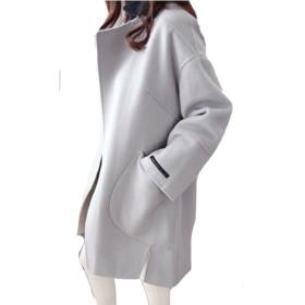 (ケイミ)KEIMI レディース チェスターコート アウタージャケット ラシャコート シンプル プルオーバー 大きいサイズ (S, ライトブルー)