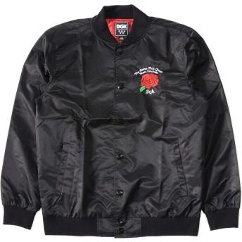 DGK ディージーケー スタジャン スタジアムジャンパー ナイロン 胸ローズ刺繍 3XL BLACK