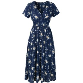 Loverbeauty レディース ドレス ワンピース レディース ワンピース 花柄 半袖 ゆったり 膝丈ワンピース ドレス ロング 体型カバー きれいめ 上品 Vネック ドレスフォーマル ネイビー 大花柄 S