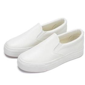 [ドゥウェイ] レザー スリッポン スシューズ 靴 スニーカー 厚底 インヒール ウォーキング スニーカー ブラック ホワイト キャンバス レディース (23, ホワイト)