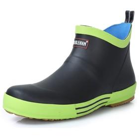 [スフォン] 軽量 ショートレインブーツ メンズ レインシューズ ショート 防水 雨靴 シンプル オシャレ おしゃれ ガーデニングシューズ ビジネス カジュアル アウトドア 通勤 通学 (26CM, 黒/緑)