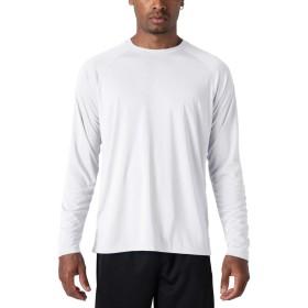 TACVASEN ドライ 長袖Tシャツ 通気性 ロンTシャツ サラリとした着心地 ロンT ストレッチ クルーネック シンプル フィットネス ジム ホワイト XL