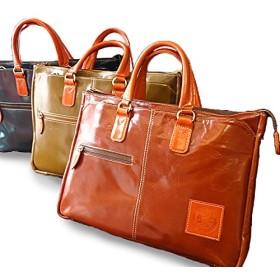 ブリーフケース 本革 メンズ ビジネスバッグ ブリーフカバン レザー A4 PC 通勤 通学 2WAY ショルダー 牛革 bag-brf001 (ブルーグリーン×オレンジ)