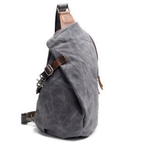 パラフィン加工キャンバス ボディバッグ ショルダーバッグ 斜めがけバッグ ボディバッグ ショルダ ーバッグ レザー メンズ バッグ (グレー)