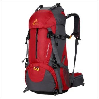 FNBK登山リュック登山バッグ ハイキング バックパック リュックサック 大容量 防水 軽量 徒歩 登山 ハイキング キャンプ 旅行用 通気性抜群 多機能バッグ 男女兼用 (レッド)