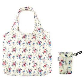 折りたたんでコンパクトサイズ 携帯用 花柄 エコバッグ お買い物かばん (ワンサイズ) (ホワイト)