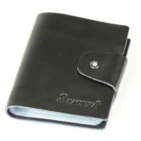 本革 カードケース 60ポケット(最大120枚収納可能)カラフルで大容量 名刺ケース 名刺入れ カード入れ 軽量 (ブラック)