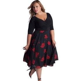 BAO8 ドレス 花柄プリントワンピース 半袖ドレス ミッドカーフ Vネック 大きいサイズ ミニスカート 女性ワンピース 可愛い 素敵 春着 夏物 普段着 (3XL, ブラック)