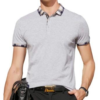 ポロシャツ 半袖 メンズ ゴルフウェア 無地 コットン ストレッチ スポーツポロシャツ 男性 サマー 春 秋 グレー WG-ZJP0312-9007GRAY-L