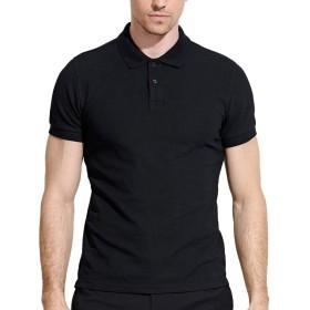 ポロシャツ メンズシャツ 半袖 無地 カノコ カジュアル トップス Tシャツ ゴルフシャツ カットソー アウトドア シンプル T-11(M,Black)