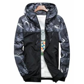 Qingxian ウィンドブレーカー メンズ ナイロン ジャケット春秋 フード付き 迷彩ジャケット 防風 軽量 パーカー