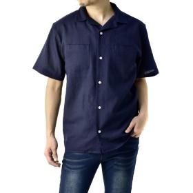 (フラグオンクルー) FLAG ON CREW 開襟シャツ メンズ 半袖 麻混 リネンシャツ ゆったりサイズ 無地 ストライプ / A8N / L ネイビー・navy・75
