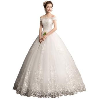 ウエディングドレス オフショルダー ロング Aライン ノースリーブ レースアップ 花嫁衣装 純白 (L)