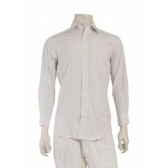 ランバンコレクション LANVIN COLLECTION ドレスシャツ ストライプ 白 メンズ 中古