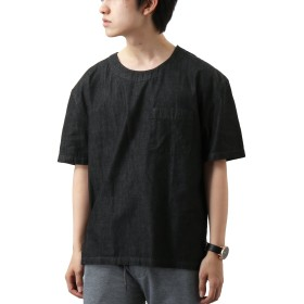[REPIDO (リピード)] 半袖 Tシャツ 無地 綿麻 ストレッチ クルーネック ポケット プルオーバー ブラック(デニム) Lサイズ