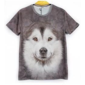 アニマル Tシャツ 動物 Tシャツ 半袖 Tシャツ おもしろ デザイン T-shirt animal 柄 3D リアル (XL, ハスキー)