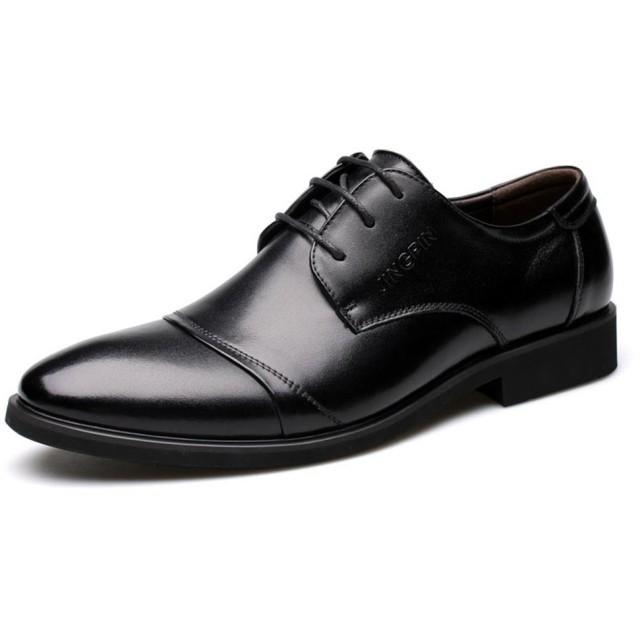 Fengbao 革靴 ビジネスシューズ メンズ シークレット 本革 6cm UP レースアップ 靴 通勤 カジュアル 屈曲性 (27.0cm, ブラック)
