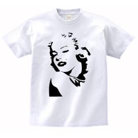 【ノーブランド品】 おもしろ デザイン Tシャツ マリリンモンロー 白 MLサイズ (L)