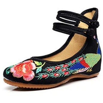 [ミネサム] パンプス レディース 中華風 チャイナ シューズ 花柄 刺繍 美脚 フラットシューズ ブラック 23cm
