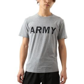 [REPIDO (リピード)] Tシャツ 半袖 メンズ プリント Vネック クルーネック モノトーンロゴ 国旗 グレー(B) Lサイズ