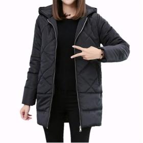Hapyy ダウンコート レディース ダウン綿コート Aライン 軽い ダウンジャケット 大きいサイズ 上品 S-3XL 大きいサイズ 秋冬 ブラック M