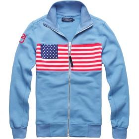 【ハイドロゲン】HYDROGEN 人気 メンズジャケット 長袖 カジュアル ジップアップ アメリカ国旗 186845 (L, ブルー) [並行輸入品]